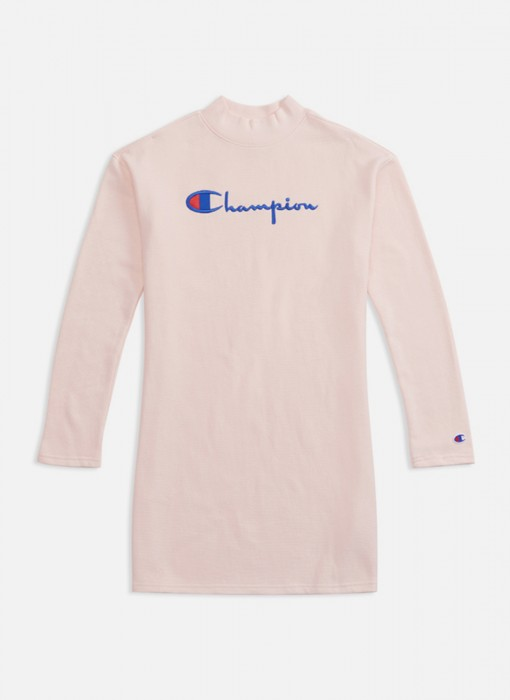 Champion Logo Oversized Reverse Weave Mini Sweater Dress Light Pink 111189 PS096
