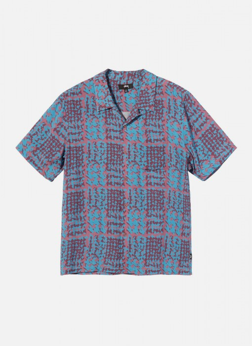 Hand Drawn Houndstooth Shirt (Blau / Rot)