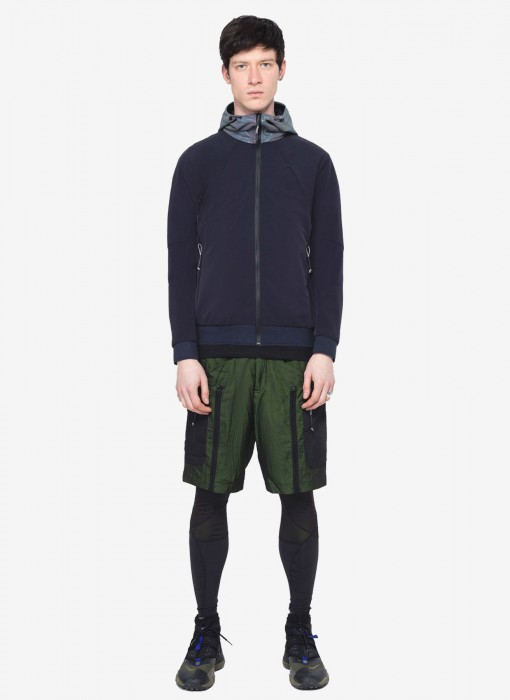 Fabric-Mix Hooded Jacket NM02/16