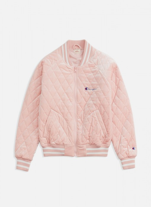 Champion Velour Quilted Bomber Jacket Light Pink 111068 PS096